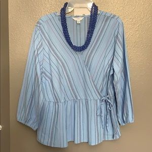 Time and Tru Women's Striped Wrap Top Large 12/14